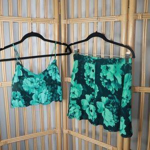 motel rocks blue & black floral print set